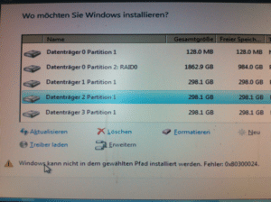 Windows 7 Installation – Fehler 0x80300024
