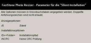 FastStone Photo Resizer – Silent Installation – Installationsparameter