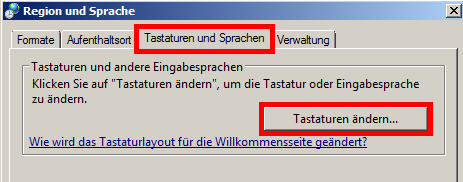 Windows 7 - Tastaturlayout