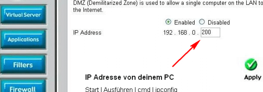 DLink Router - DMZ enable