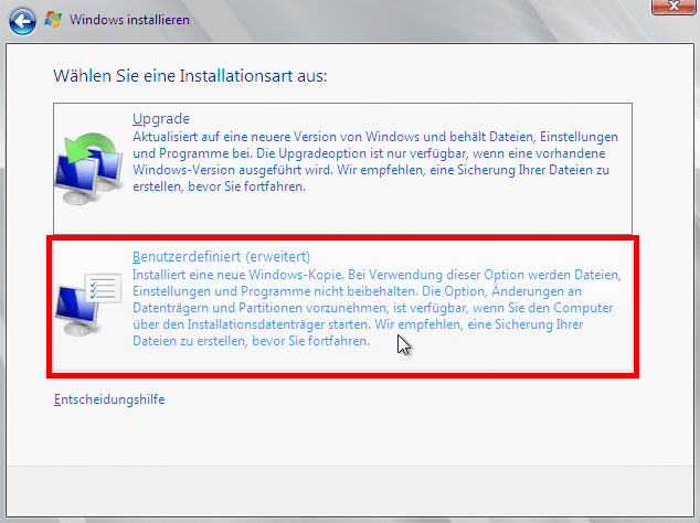 Windows Server 2008 R2 - Benutzerdefinierte Installation