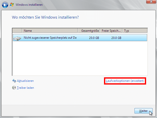 Windows Server 2008 R2 - Laufwerkoptionen