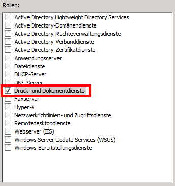 Windows Server 2008 R2 - Printserver Rolle