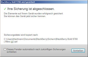 HowTo: BlackBerry – Daten sichern via BB Desktop Manager