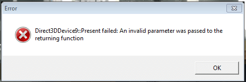DirectX: Direct3DDevice Error