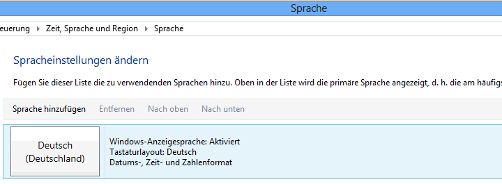 Windows 8 Sprache
