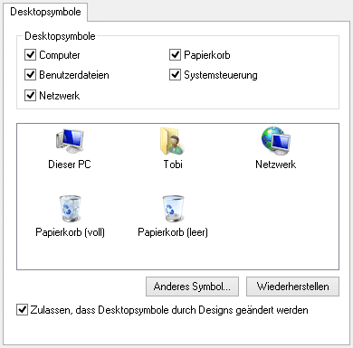 Windows 8.1 – (Standard)-Desktopsymbole anzeigen