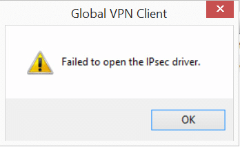 SonicWALL – Failed to open the IPsec driver