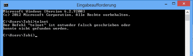 Telnet unter Windows 7 / Windows 8 aktivieren