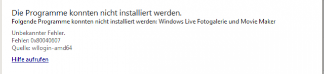 Windows Live Essentials 2012 – Fehler 0x80040607 bei der Installation