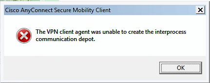 Cisco AnyConnect Client – Client Agent was unable to create…