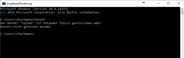 Windows 10 – Telnet aktivieren