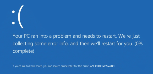 Windows 10 Update – APC Index Missmatch Bluescreen beheben